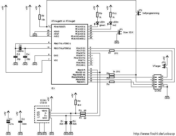 usbasp usb programmer for atmel avr controllers fischl de rh fischl de avr microcontroller programmer circuit diagram usb isp programmer circuit diagram